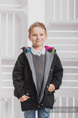 Parka Coat for Kids - size 110 - Black & Diamond Plaid