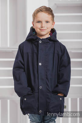 Parka Coat for Kids - size 110 - Navy Blue & Diamond Plaid
