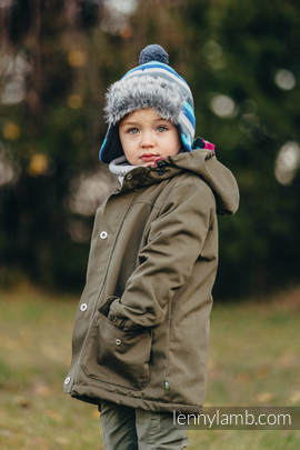 Parka Coat for Kids - size 110 - Khaki & Diamond Plaid