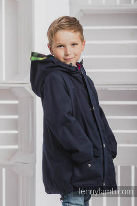 Parka Coat for Kids - size 122 - Navy Blue & Diamond Plaid