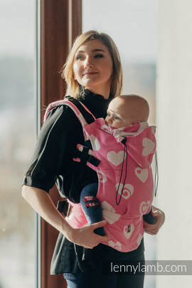 Ergonomic Carrier, Toddler Size, jacquard weave 100% cotton - wrap conversion SWEETHEART PINK & CREME 2.0 - Second Generation