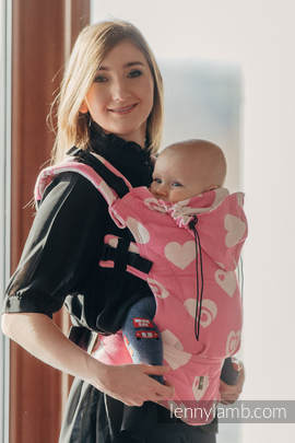 Ergonomic Carrier, Baby Size, jacquard weave 100% cotton - wrap conversion SWEETHEART PINK & CREME 2.0 - Second Generation