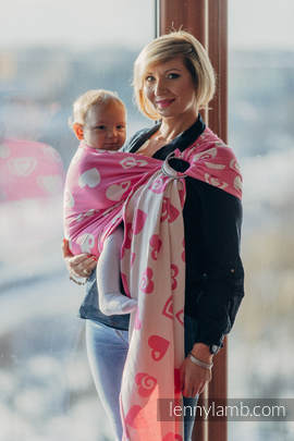 Ringsling, Jacquard Weave (100% cotton) - with gathered shoulder - SWEETHEART PINK & CREME 2.0 (grade B)