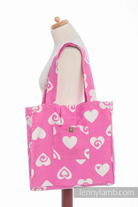 Shoulder bag made of wrap fabric (100% cotton) - SWEETHEART PINK & CREME 2.0 - standard size 37cmx37cm
