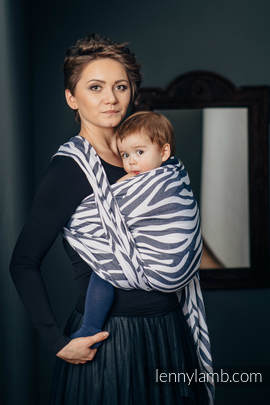 Baby Wrap, Jacquard Weave (100% cotton) - ZEBRA GRAPHITE & WHITE - size S