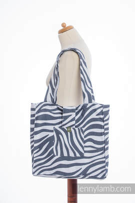 Shoulder bag made of wrap fabric (100% cotton) - ZEBRA GRAPHITE & WHITE - standard size 37cmx37cm