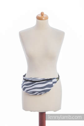 Waist Bag made of woven fabric, (100% cotton) - ZEBRA GRAPHITE & WHITE