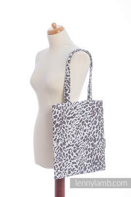Shopping bag made of wrap fabric (100% cotton) - CHEETAH DARK BROWN & WHITE