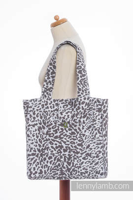 Shoulder bag made of wrap fabric (100% cotton) - CHEETAH DARK BROWN & WHITE - standard size 37cmx37cm