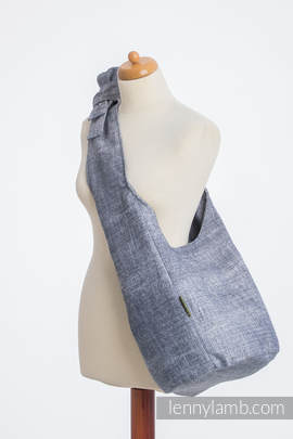Hobo Bag made of woven fabric, 100% cotton - DENIM BLUE