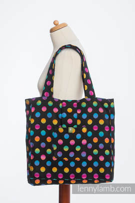 Shoulder bag made of wrap fabric (100% cotton) - POLKA DOTS RAINBOW DARK - standard size 37cmx37cm