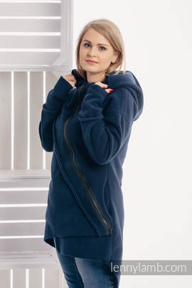 Asymmetrical Fleece Hoodie for Women - size M - Navy Blue