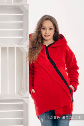 Asymmetrical Fleece Hoodie for Women - size XL - Red