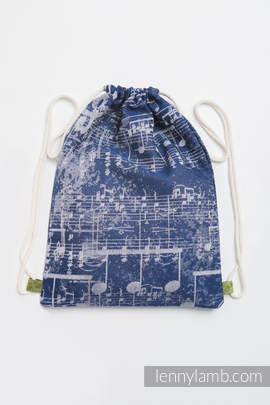 Sackpack made of wrap fabric (100% cotton) - SYMPHONY NAVY BLUE & GREY - standard size 32cmx43cm