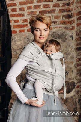 WRAP-TAI carrier Toddler with hood/ jacquard twill / 60% cotton 28% linen 12% tussah silk / CRYSTAL LACE