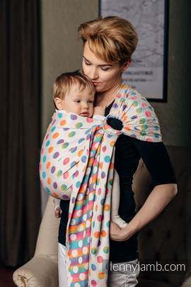 Ringsling, Jacquard Weave (100% cotton) - with gathered shoulder - POLKA DOTS RAINBOW