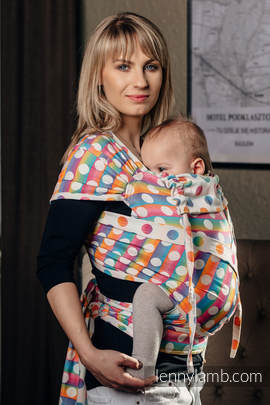 WRAP-TAI carrier Toddler with hood/ jacquard twill / 100% cotton / POLKA DOTS RAINBOW