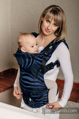 Ergonomic Carrier, Toddler Size, jacquard weave 100% cotton - wrap conversion from ZEBRA BLACK & NAVY BLUE  - Second Generation (grade B)