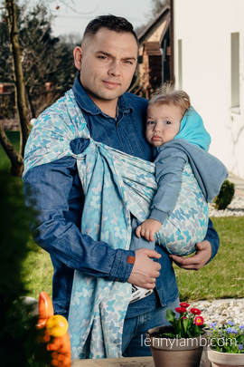 Ringsling, Jacquard Weave (100% cotton) - with gathered shoulder - BUTTERFLY WINGS BLUE