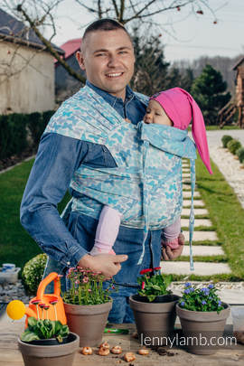 WRAP-TAI carrier Toddler with hood/ jacquard twill / 100% cotton / BUTTERFLY WINGS BLUE