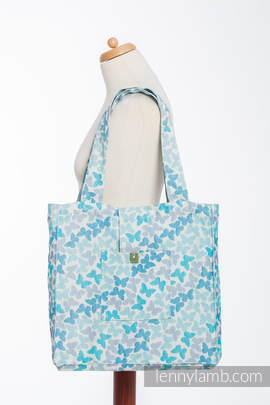 Shoulder bag made of wrap fabric (100% cotton) - BUTTERFLY WINGS BLUE  - standard size 37cmx37cm