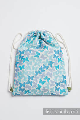 Sackpack made of wrap fabric (100% cotton) - BUTTERFLY WINGS BLUE - standard size 32cmx43cm