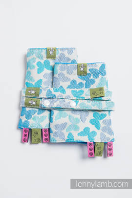 Drool Pads & Reach Straps Set, (100% cotton) - BUTTERFLY WINGS BLUE