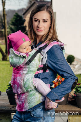Ergonomic Carrier, Baby Size, jacquard weave 100% cotton - wrap conversion from ROSE BLOSSOM - Second Generation