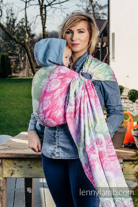 Ringsling, Jacquard Weave (100% cotton) - with gathered shoulder - ROSE BLOSSOM