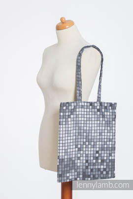 Shopping bag made of wrap fabric (100% cotton) - MOSAIC - MONOCHROME (grade B)