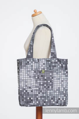 Shoulder bag made of wrap fabric (100% cotton) - MOSAIC - MONOCHROME - standard size 37cmx37cm