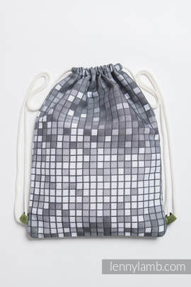 Sackpack made of wrap fabric (100% cotton) - MOSAIC - MONOCHROME - standard size 32cmx43cm
