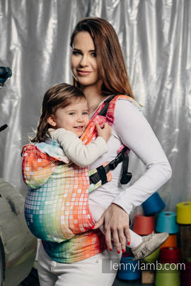 Ergonomic Carrier, Baby Size, jacquard weave 100% cotton - wrap conversion from MOSAIC - RAINBOW - Second Generation