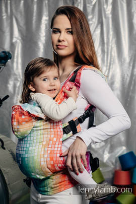 Ergonomic Carrier, Toddler Size, jacquard weave 100% cotton - wrap conversion from MOSAIC - RAINBOW - Second Generation