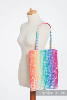 Shopping bag made of wrap fabric (100% cotton) - MOSAIC - RAINBOW (grade B)