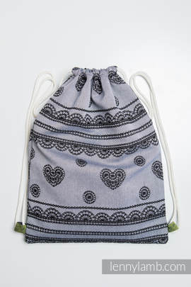Sackpack made of wrap fabric (100% cotton) - GLAMOROUS LACE REVERSE - standard size 35cmx45cm