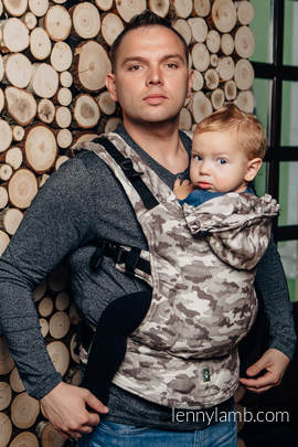 Ergonomic Carrier, Baby Size, jacquard weave 100% cotton - wrap conversion from BEIGE CAMO - Second Generation