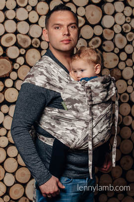 WRAP-TAI carrier Toddler with hood/ jacquard twill / 100% cotton / BEIGE CAMO