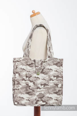 Shoulder bag made of wrap fabric (100% cotton) - BEIGE CAMO - standard size 37cmx37cm