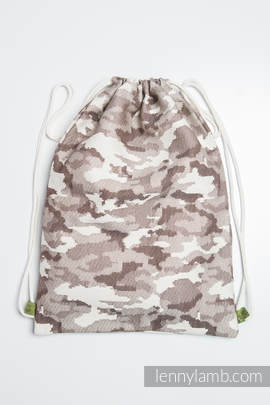 Sackpack made of wrap fabric (100% cotton) - BEIGE CAMO - standard size 35cmx45cm