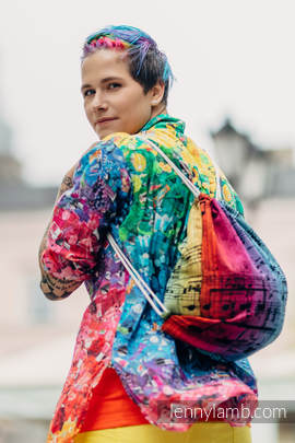 Sackpack made of wrap fabric (100% cotton) - SYMPHONY RAINBOW DARK - standard size 35cmx45cm