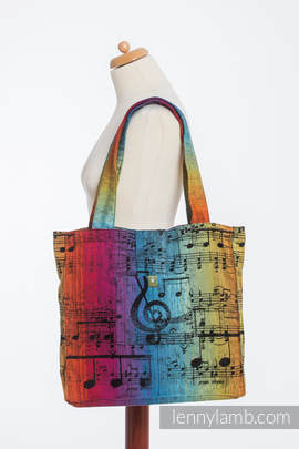 Shoulder bag made of wrap fabric (100% cotton) - SYMPHONY RAINBOW DARK - standard size 37cmx37cm