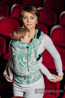 Ergonomic Carrier, Toddler Size, jacquard weave 100% cotton - wrap conversion from MERMAID POND 2.0, beige background - Second Generation