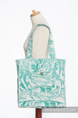 Shoulder bag made of wrap fabric (100% cotton) - MERMAID POND 2.0 - standard size 37cmx37cm