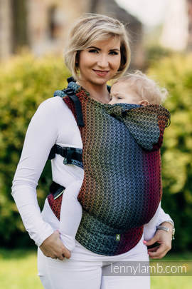 Ergonomic Carrier, Baby Size, jacquard weave 100% cotton - wrap conversion from LITTLE LOVE RAINBOW DARK, Second Generation