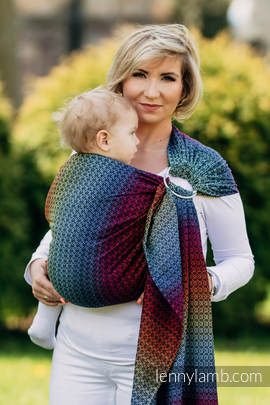 Ringsling, Jacquard Weave (100% cotton), with gathered shoulder - LITTLE LOVE - RAINBOW DARK