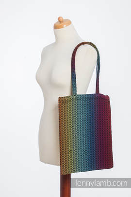Shopping bag made of wrap fabric (100% cotton) - LITTLE LOVE - RAINBOW DARK