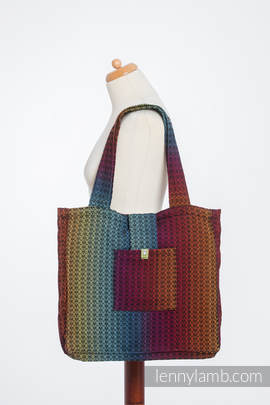 Shoulder bag made of wrap fabric (100% cotton) - LITTLE LOVE - RAINBOW DARK - standard size 37cmx37cm