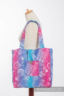 Shoulder bag made of wrap fabric (100% cotton) - CITY OF LOVE - standard size 37cmx37cm