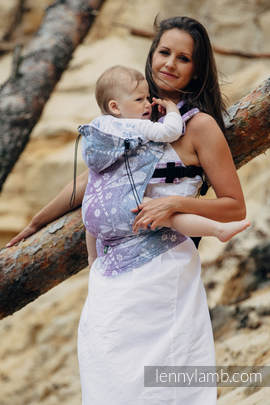 Ergonomic Carrier, Baby Size, jacquard weave 60% cotton 40% linen - wrap conversion from DRAGONFLY LAVENDER, Second Generation